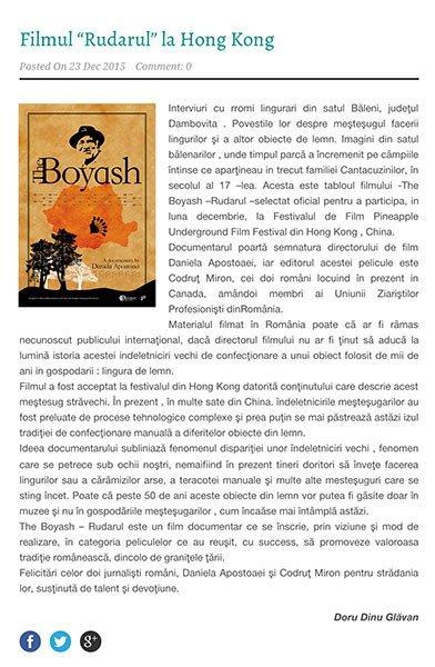 Articol despre filmul Rudarul semnat de Doru Dinu Glavan - UZPR