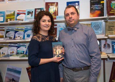Daniela Cupse Apostoaei, the Author, and Codrut Miron - Translator of the Blue Embrace - Albastru in Doi, poetry book