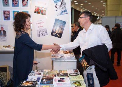 Daniela Cupse Apostoaei and journalist Gabriel Cristache at the Gaudeamus International Book Fair, Bucharest, Romania 2017