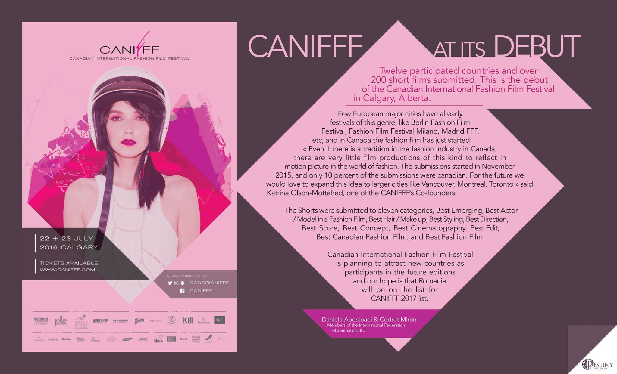 Canadian International Fashion Film Festival article by Daniela Cupse Apostoaei and Codrut Miron
