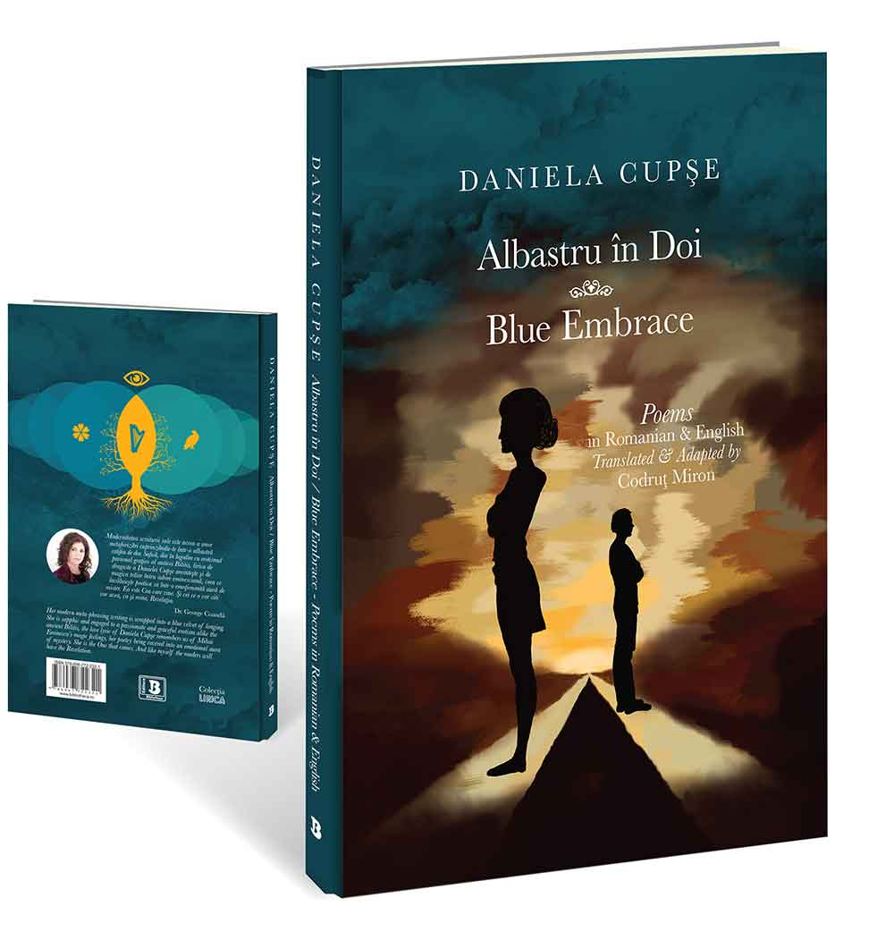 Blue Embrace - Albastru in Doi, front and back covers, book published by Bibliotheca and Tablo publishing houses