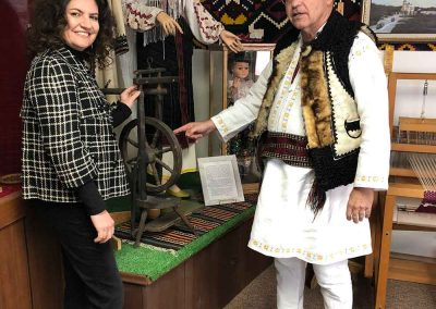 Daniela Apostoaei and Les Lutic, Curator of the Romanian Pioneers Museum in Boian, Alberta, Canada