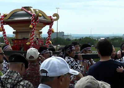 Warriors care Omikoshi portable Shrine at the Omatsuri Japanese Festival, Calgary Alberta Canada