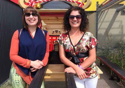 Ella Clarens and Daniela Apostoaei with the Omikoshi, Omatsuri Festival in Calgary