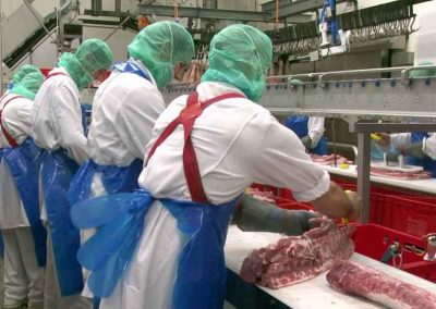 Workers in the Tonnies Fleisch meat factory, Germany